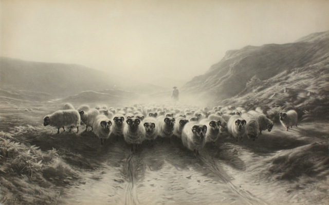 Print, late 19th-early 20th century Leaving the Hills, 1874 After Joseph Farquharson (1846-1935) Scotland Gift of Werner von Bergen, 0000.329 Joseph Farquharson was a Scottish painter, known especially for his winter landscapes scenes with sheep. He exhibited almost annually at the Royal Academy in London and found commercial success with prints made from his paintings.