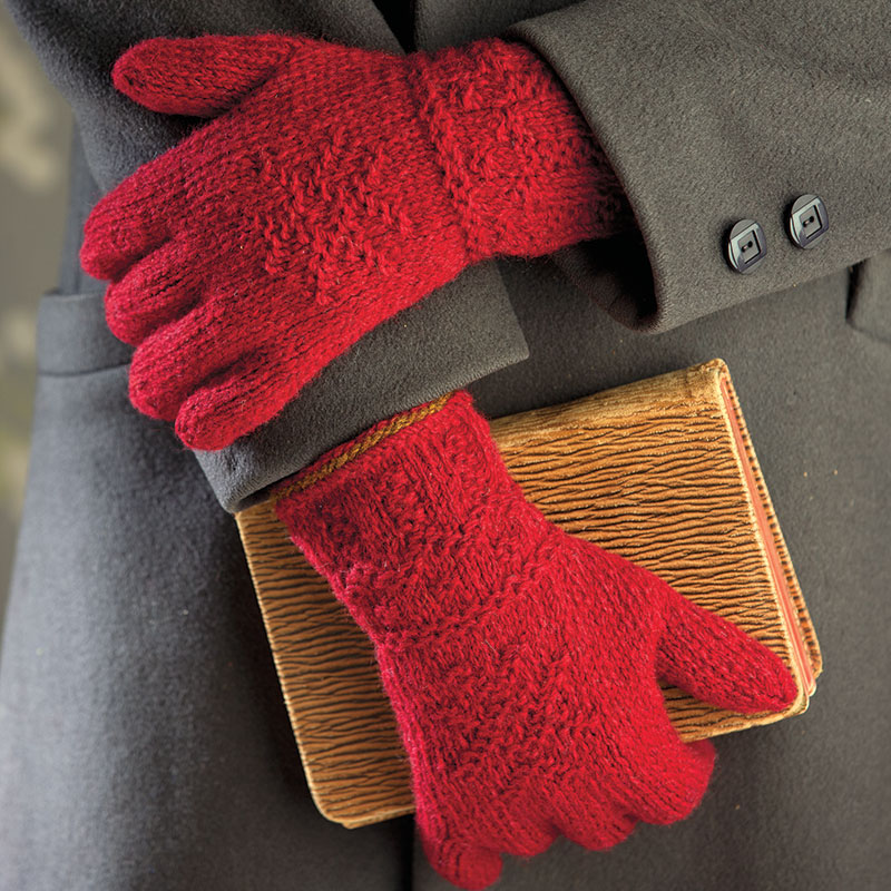 Twined Knitted Gloves