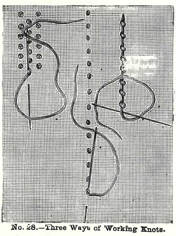This illustration from Volume 6 of <em>Weldon's Practical Needlework</em> shows three ways to work knots. Left to right: French knots, dots, and knot stitch.