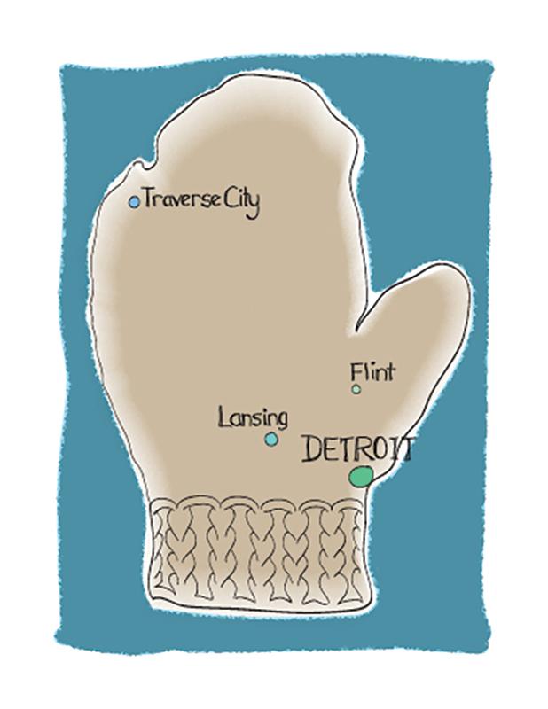 handspun mitten