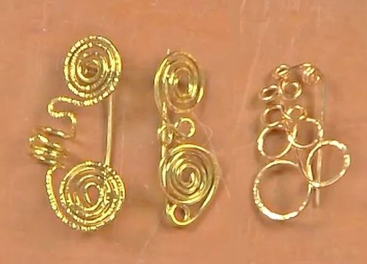 wire coil brooches