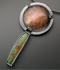 Learn about soldering copper and brass and make great jewelry, such as this Southwest Spirited Etched Pendant.