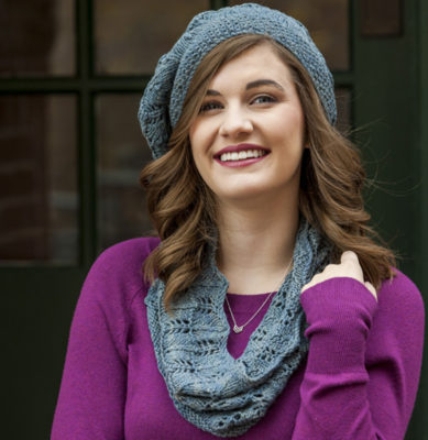 Julie Turjoman's smart beret and cowl made from luscious silk yarnare must-have accessories.