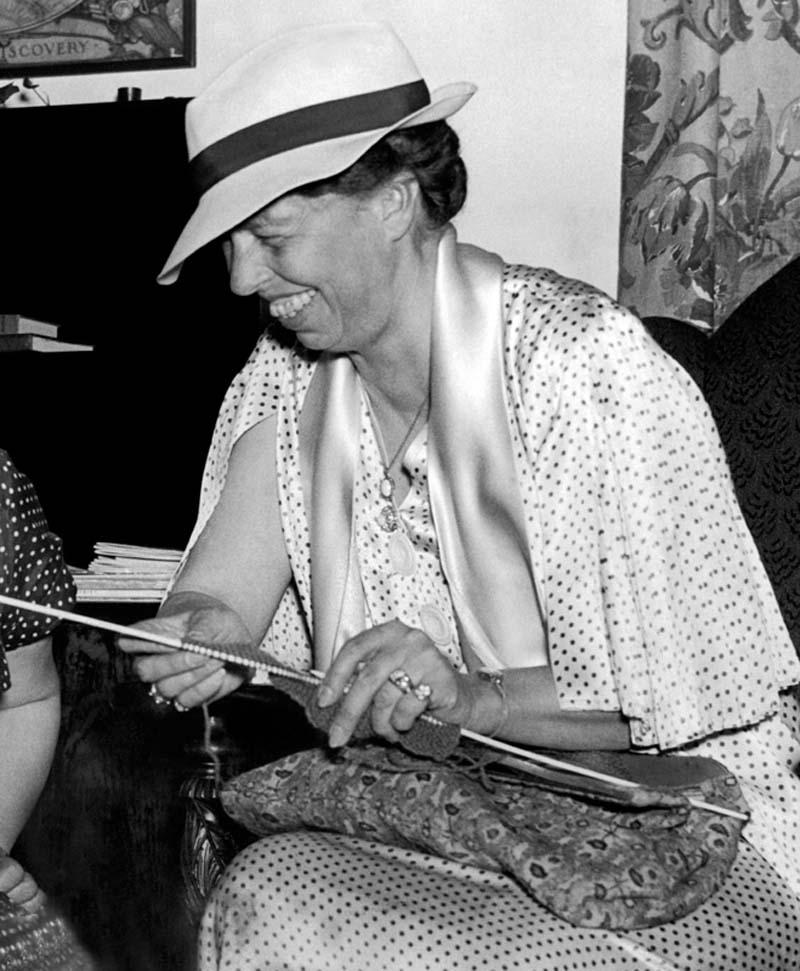 1. Eleanor Roosevelt knitting at the Associated Country Women of the World's exhibit. Washington, D.C. June 2, 1936. Photo by Underwood Archives/Getty Images.