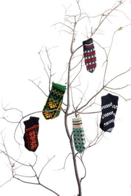 Lithuanian Textiles: Knitted mittens purchased by Donna Druchunas in Vilnius, Lithuania. 2007. Photo by Joe Coca.