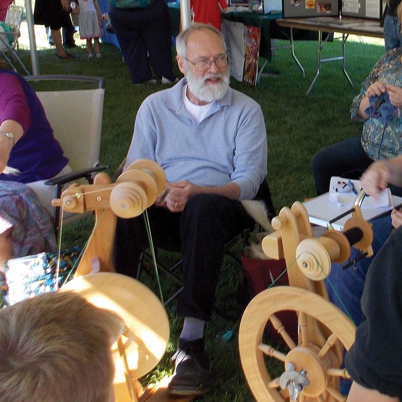 David Kortier at his spinning wheel.