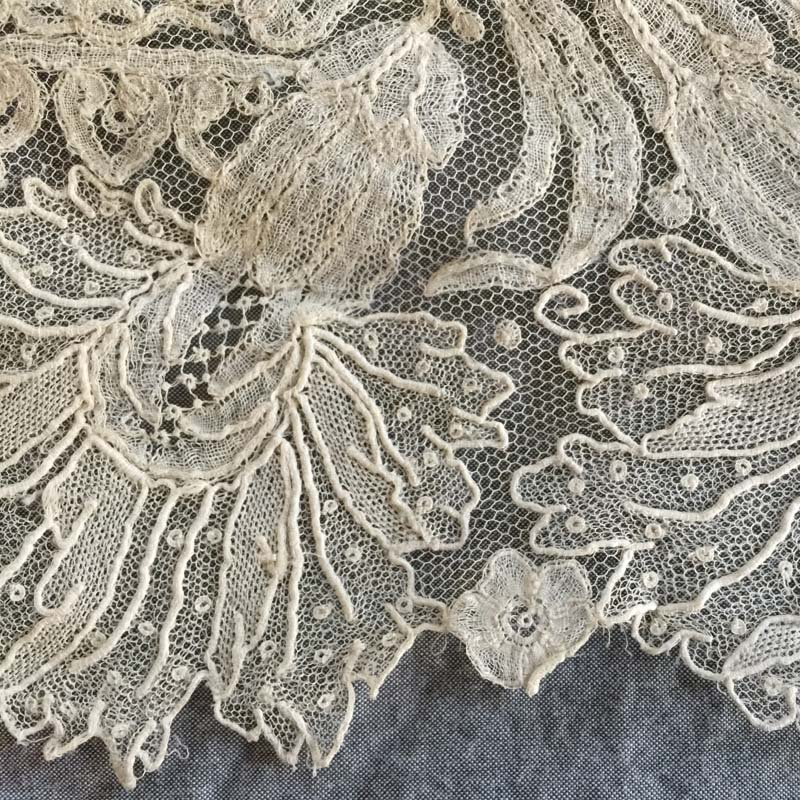 Detail of the Green family's wedding veil. Point d'Angleterre lace. Linen thread. The veil was originally worn by Mary Elizabeth Mulligan Green for her October 1, 1857, wedding. 3.8 ounces (107.7 g). Photograph by Catherine S. Vodrey.