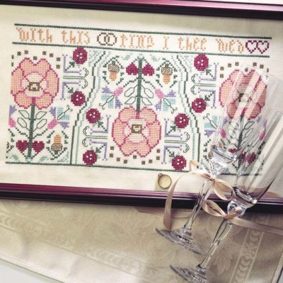 Elly Smith's ode to the Tudor rose motif and Renaissance samplers. Instructions for cross-stitching this charming sampler are included in the May/June 2000 issue of PieceWork. Photo by Joe Coca.