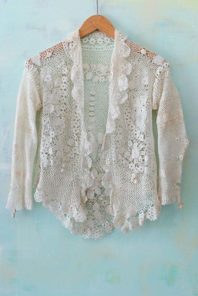 Ida May Allen's wedding jacket. Irish crochet. United States. Circa 1881. Photograph by Joe Coca.