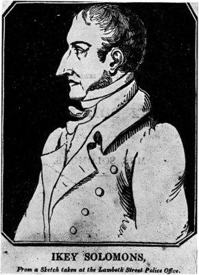 """Drawing of Isaac """"Ikey"""" Solomon. Circa 1830. Anonymous print. Photograph courtesy of Wikimedia Commons; (PD)."""