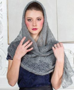 Eyelets abound in the Head in the Clouds Scarf, based on a veil pattern from Weldon's Practical Needlework.
