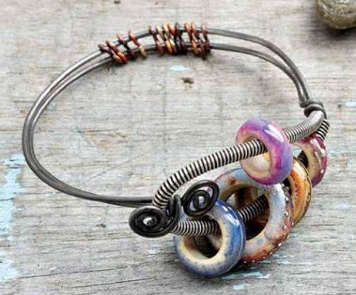 Kerry Bogert Sea Anemone bracelet wire lampwork glass
