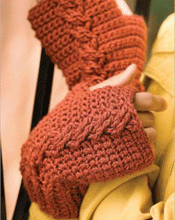 Cabled Crochet Mitts