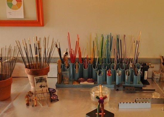 lampwork glass and other jewelry making studio organization ideas