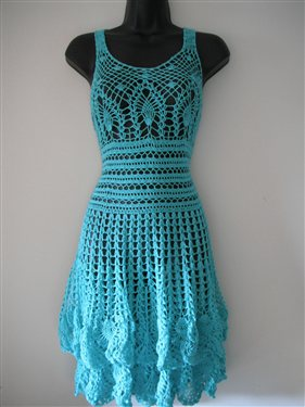 Elegant Mint Summer Crochet Dress Size M Interweave