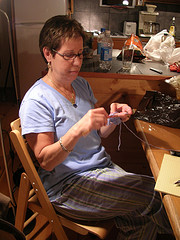Mom learns to crochet