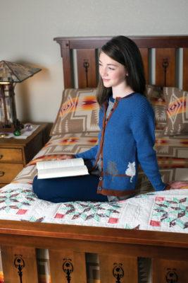 Window Cat Child's Cardigan knitting pattern designed by Jennifer Raymond
