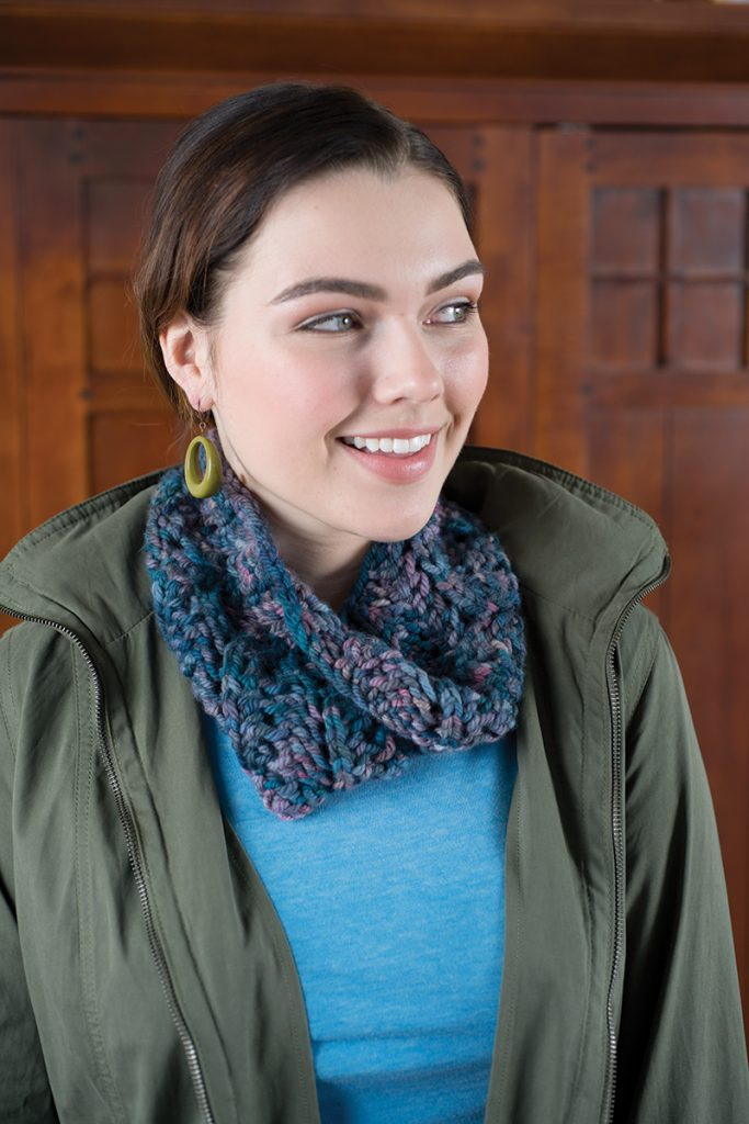 Supernova Cowl designed by Lisa Jacobs from Love of Knitting Winter 2016