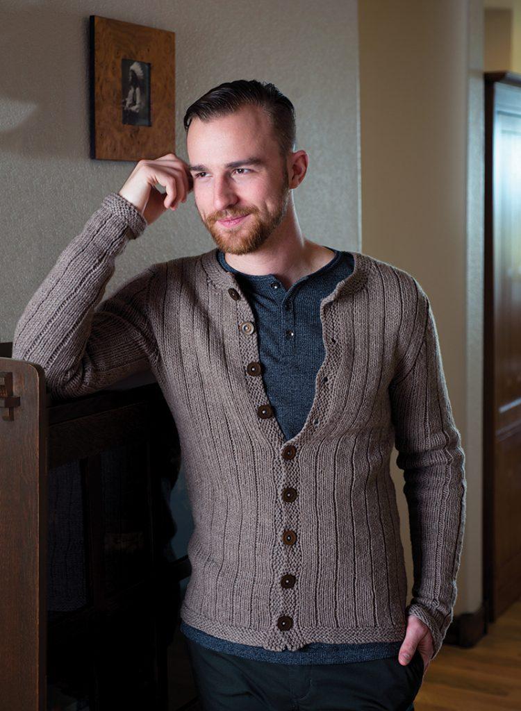 Vertical Stripes Cardigan knitting pattern designed by Kristen TenDyke from Love of Knitting Winter 2016