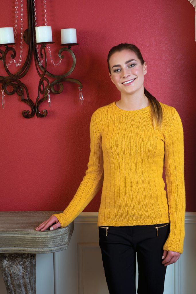 Vertical Stripes Pullover knitting pattern designed by Kristen TenDyke from Love of Knitting Winter 2016