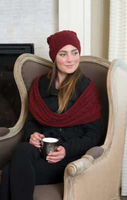 Lytle Infinity Scarf & Hat knitting pattern designed by Lynn Di Cristina