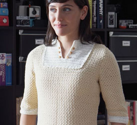 You'll love this crochet blouse pattern found in this FREE eBook on crochet tops for women and a shaping guide.