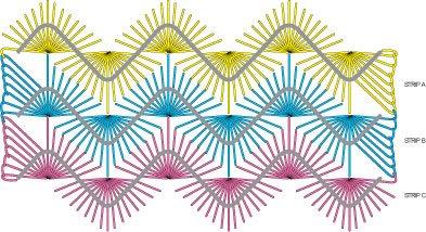 Diagram of free crochet pattern: Tressa Hairpin Lace Scarf.