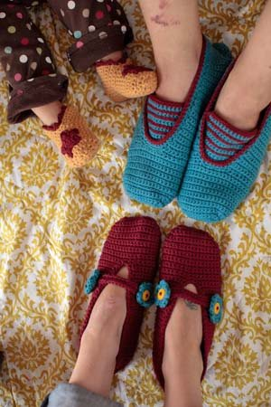 The Family of Slippers crochet pattern by Linda Permann has a slipper pattern for everyone in your family.