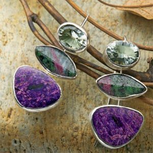 stone-setting jewelry tutorial featuring three bezel-set stones in earrings