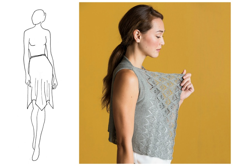 Above left: Four-corner handkerchief hem skirt. Above right: Die Cut Vest