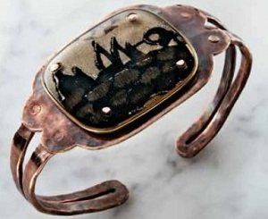 Resin and Bronze Wire Cuff by Helen Driggs