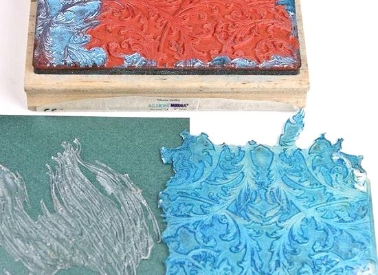 make resin texture molds with rubber stamps
