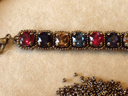 Learn how to make a seed bead bracelet with this step-by-step tutorial: Step 2.
