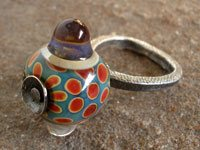 silver metal clay ring for lampwork glass bead