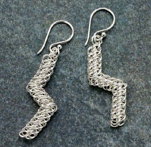 advanced chain maille lightning bolt earrings