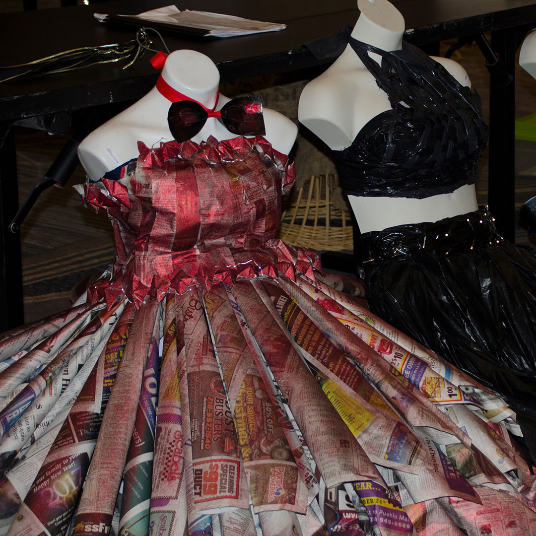 Entries in the Colorado TSA Fashion Design competition, in which students were tasked with making garments using only recycled materials. Photo courtesy of Colorado TSA.