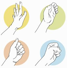 a series of four hand stretches: flex fingers; bend fingertips; closed fist; fist with flat fingertips