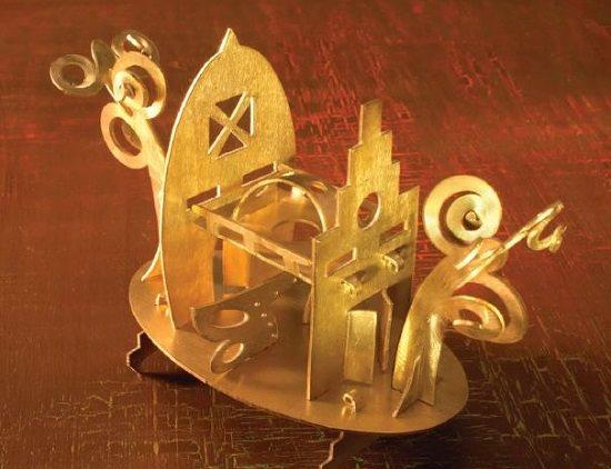 Little City sawn metal sculpture by Thomas Mann