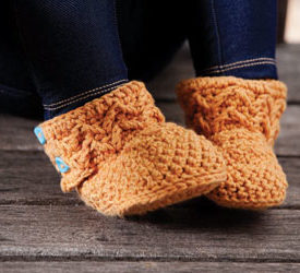 Molly's Muklucks are great crochet slippers to give as a gift to a child in your life. Find this pattern in our free crochet slippers and socks eBook.