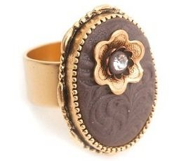stamped leather-look ring by Nunn Design