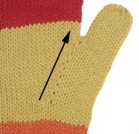 Here is an example of the palm gusset. Increases are worked every other round, only on the palm side of the glove, unlike other gussets.