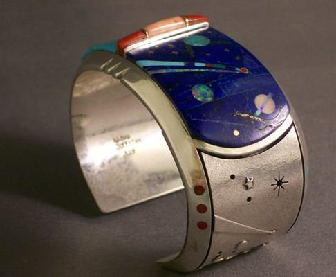 gemstone inlay and intarsia cuff bracelet by Jeff Fulkerson