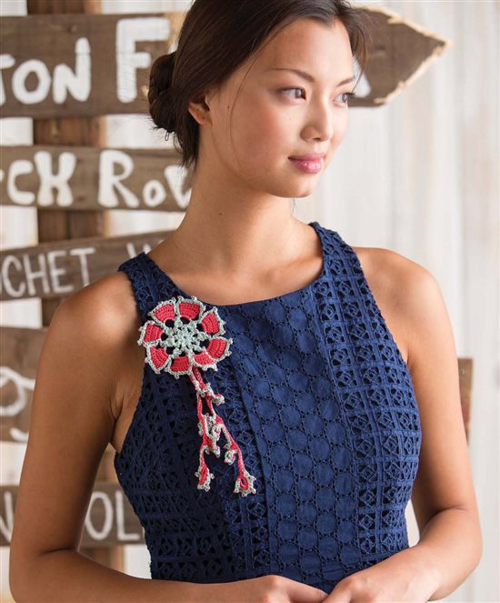 3 Skeins or Less: Crochet Broach