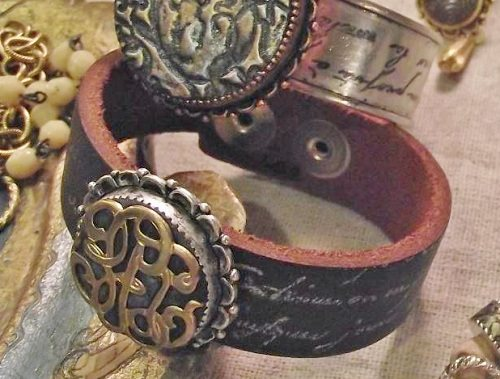 rubber stamped leather cuff bracelet