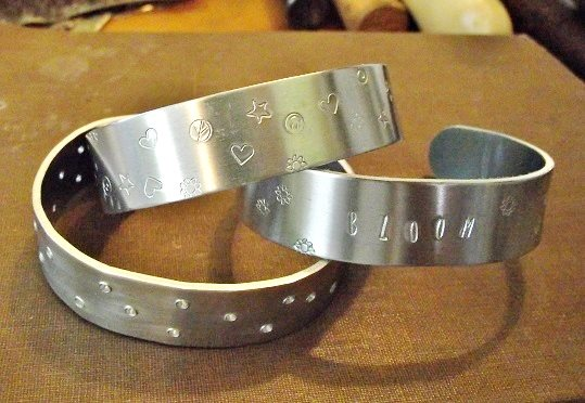 metal stamped and pierced cuff bracelet