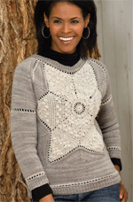The Snowflake Sweater is a beautiful knitting and crochet pattern that features motifs and can be found in our free Knitting and Crochet Patterns eBook.