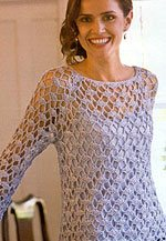 This lace crochet top-down top is stunning.