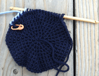 How to do Tunisian crochet in the round tutorial, step 2.