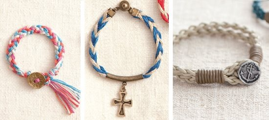 braided modern friendship bracelets with button closures or charms