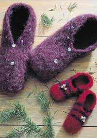 Learn how to make felted wool slippers in this how to felt knitting pattern.